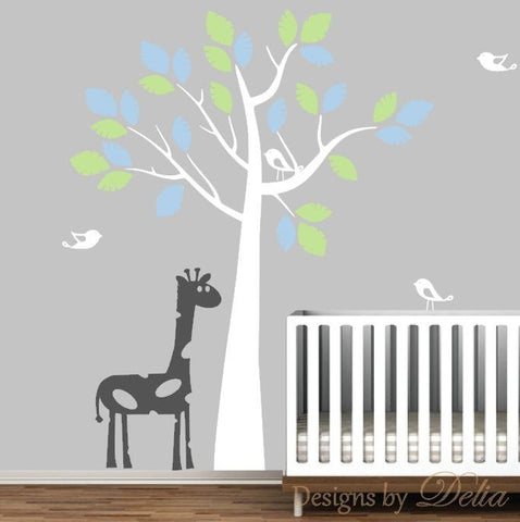 Nursery Tree Decal with Birds and Giraffe, Vinyl Wall Sticker