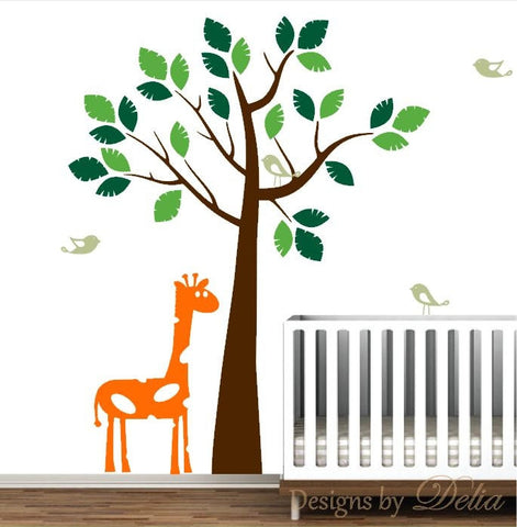 Giraffe Nursery Wall Decal with Birds