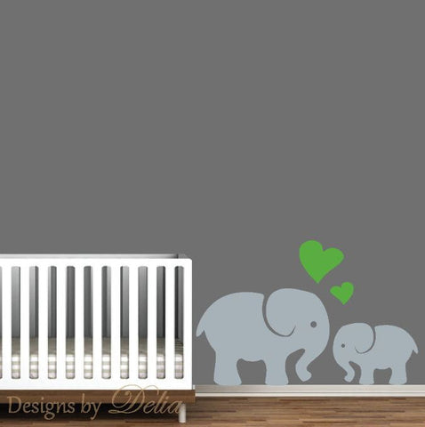 Elephant Wall Art, Mommy or Daddy Elephant with Baby Elephant Decal