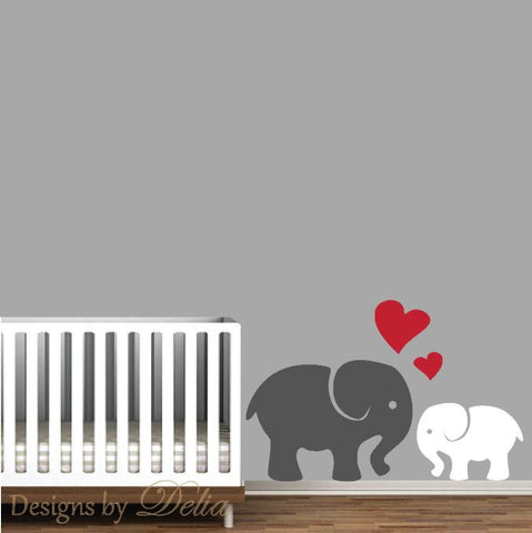 Jungle Wall Decal, Elephant Mommy or Daddy Elephant with Baby Elephant Decal