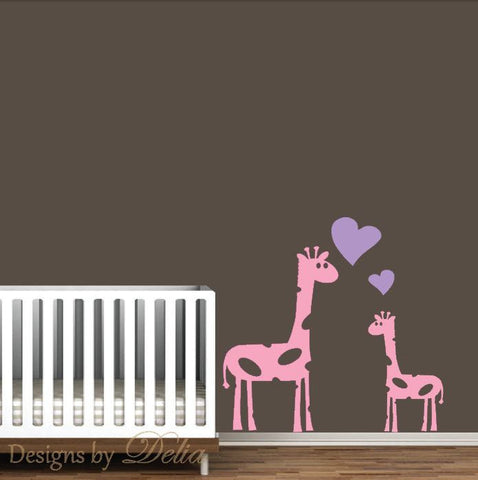 Giraffe Wall Art, Mommy or Daddy Giraffe with Baby Giraffe Decal
