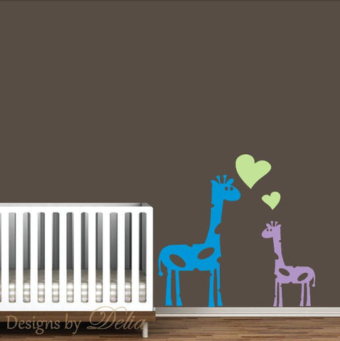 Nursery Giraffe Wall Decal, Parent And Baby Giraffe Wall Art
