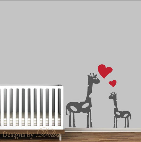 Giraffe and Baby Giraffe Cute Nursery Wall Stickers
