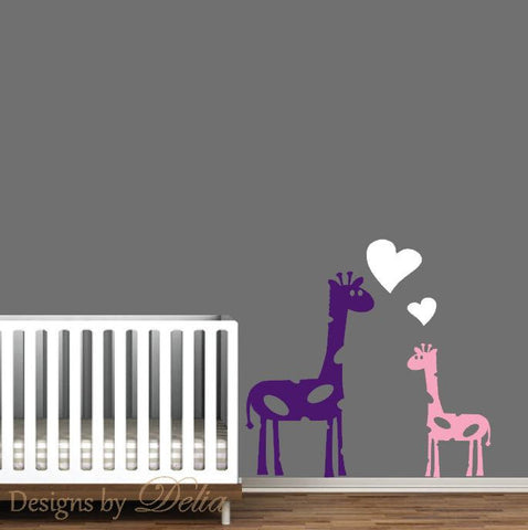 Nursery Wall Decal with Mommy or Daddy Giraffe and Baby Giraffe