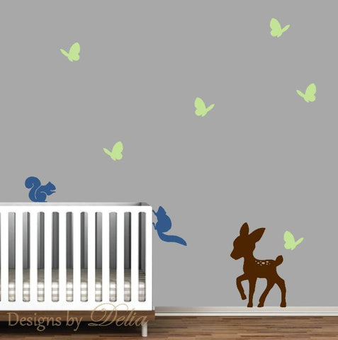 Deer, Butterflies, and Squirrels Wall Decal for Nursery