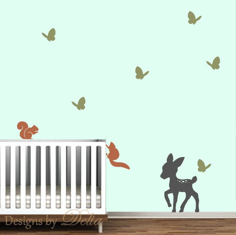 Deer, Butterflies, and Squirrels Wall Decal for Children's Room