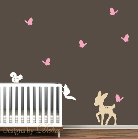 Forest Animals Wall Decal, Deer, Butterflies, and Squirrels