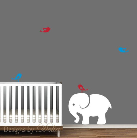Children's Wall Decal with Elephant and Birds