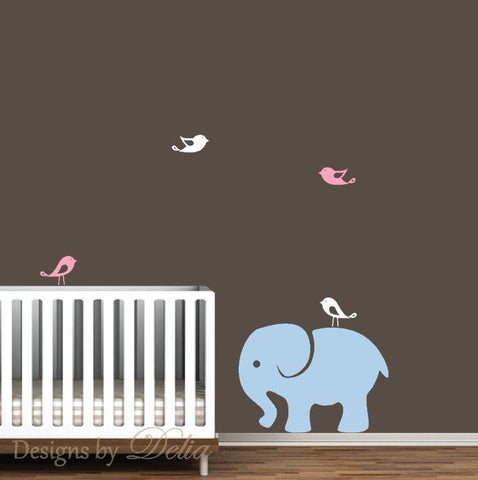 Nursery Wall Decal with Birds and Elephant