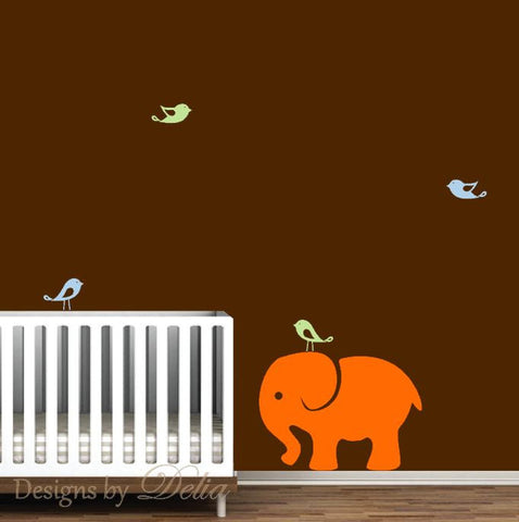 Elephant Nursery Wall Decal with Cute Birds