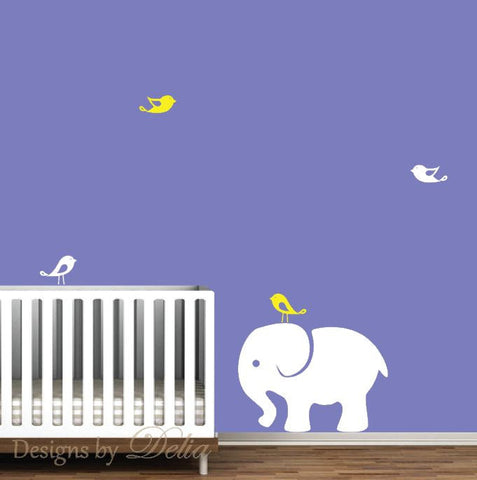 Elephant Nursery Wall Mural, Jungle Animals includes Elephant and Birds