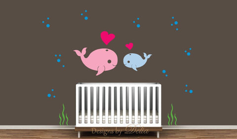Mommy or Daddy Whale and Baby Whale Wall Decal
