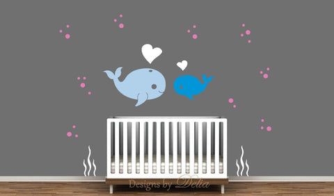 Nursery Wall Decal Whale and Baby Whale Love