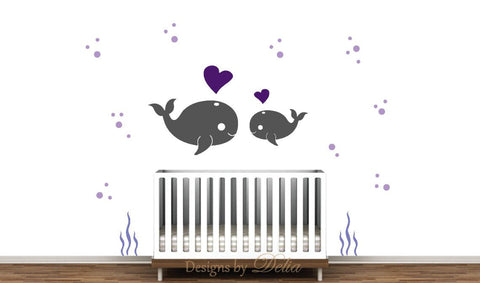 Ocean Wall Mural, Baby Whale with Mommy or Daddy Whale