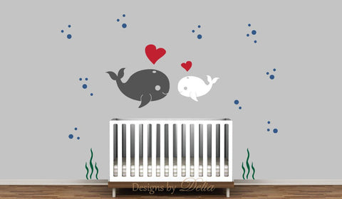 Children's Wall Decal Sea Creatures Whale and Baby Whale