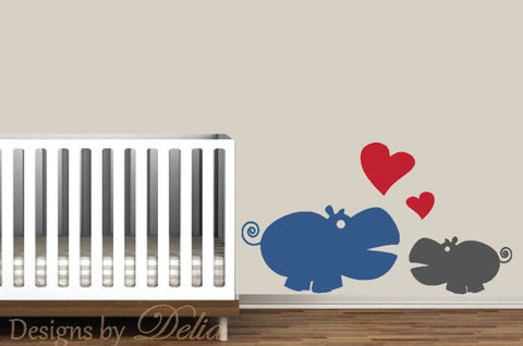 Nursury Decal, Parent with Baby Hippo Mural