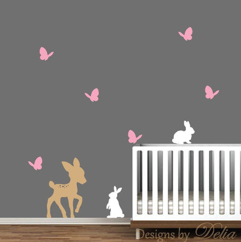 Forest Animals Wall Decal, Deer, Butterflies, and Bunnies