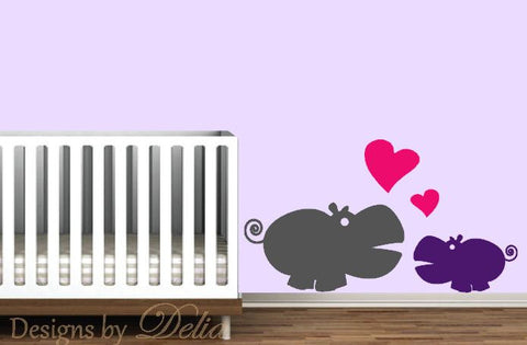 Hippo Decal for Nursery, Children's Wall Art