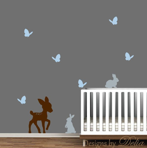 Nursery Wall Decal, Deer, Butterflies, and Bunnies