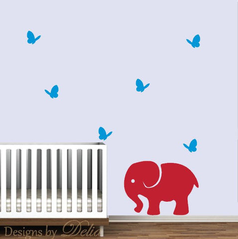 Baby Nursery Decal, Elephant and Butterflies