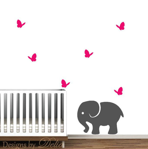 Nursery Wall Decal, Jungle Animals include 6 Cute Butterflies and an Elephant