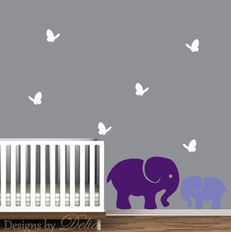 Nursery Wall Art including Mommy or Daddy Elephant Decal with Baby Elephant and Colorful Butterflies