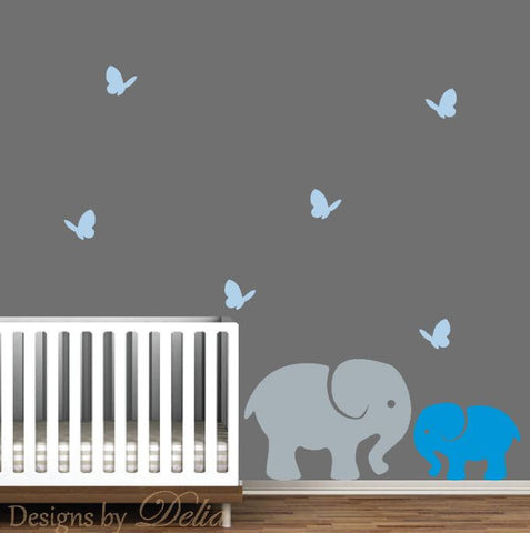 Nursery Wall Decals, Jungle Animals Include Big Elephant, Baby Elephant, and Butterflies