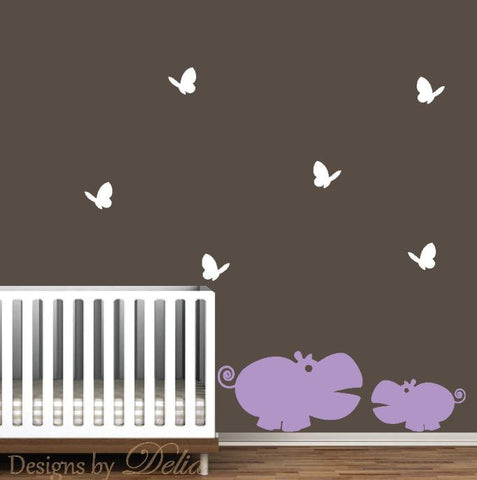 Nursury Decal, Parent, Baby Hippo and butterflies