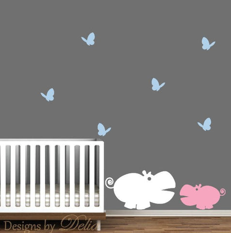 Nursury Wall Decal, Mommy or Daddy Hippo with Baby Hippo and Butterflies