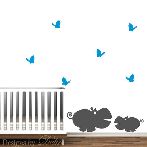 Jungle Animals Wall Decal, Hippo, Baby Hippo, and Butterflies