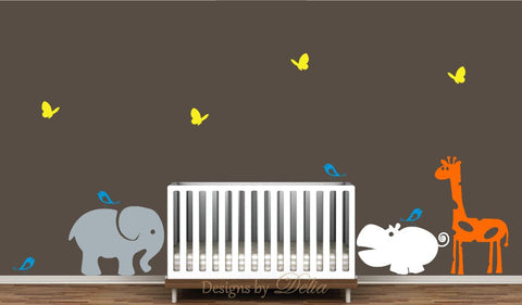Jungle animal vinyl decals for boy or girl nursery