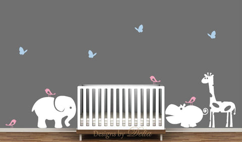 Nursery Wall Decals With Elephant, Hippo, Giraffe, Birds, And Butterflies