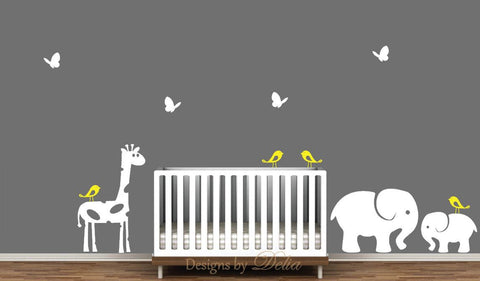 Jungle Nursery Decals, Giraffe, Elephant, and Baby Elephant