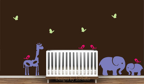 Wall Decals for Nursery with Cute Jungle Animals