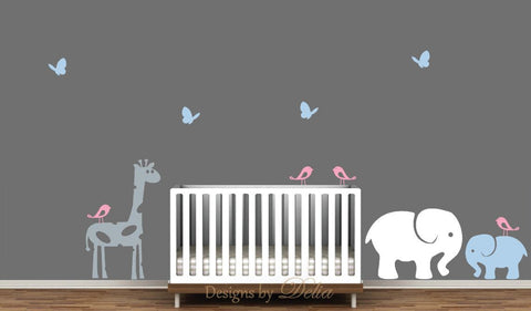 Nursery Decals, Jungle Animals, Giraffe, Elephant, Baby Elephant, Birds, and Butterflies