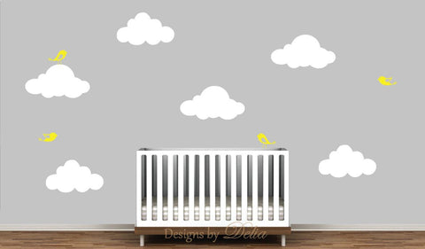 Nursery Wall Decal with Clouds and Cute Birds