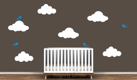Children's Room Vinyl Decal Set with Birds and Fluffy Clouds