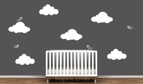 Baby Room Decals with Birds and Fluffy Clouds