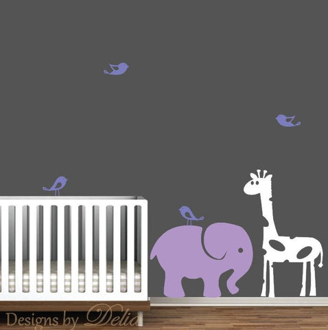 Cute Birds, Elephant, and Giraffe Decals for Nursery
