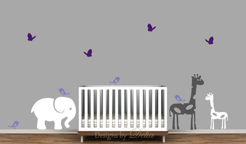 Elephant, Giraffes, Birds, and Butterflies Nursery Wall Decals