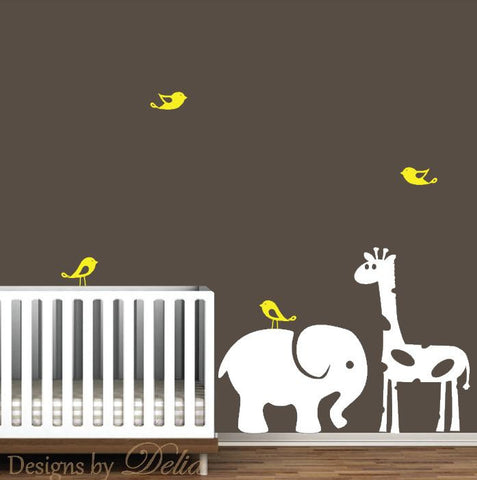 Wall Decal for Nursery with Elephant and Giraffe