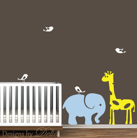 Nursery decal with Giraffe and Elephant