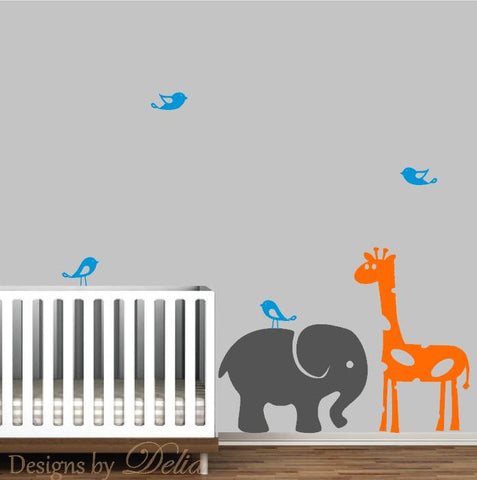 Nursery Wall Decal with Jungle Animal Friends