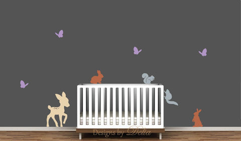 Forest Animals Decals with Deer, Bunnies, Squirrels, and Butterflies
