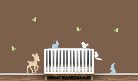 Nursery Decal Set with Deer, Bunnies, Squirrels, and Butterflies