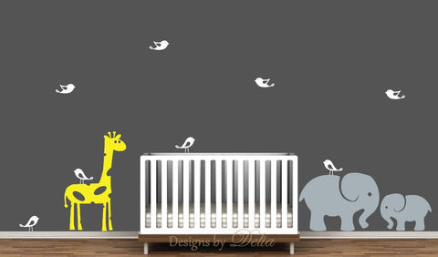 Children's Room Wall Decal with Jungle Animals