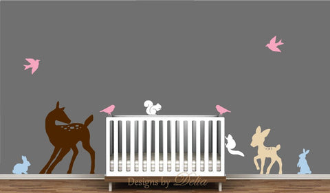 Deer, Baby Deer, Bunnies, Squirrels, And Birds Decal For Baby Room