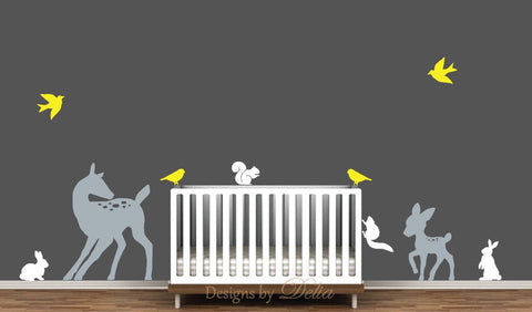 Wall Decal for Baby Room with Deer and Forest Animals