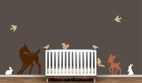 Nursery Wall Decal With Deer, Baby Deer, Bunnies, Squirrels, And Birds