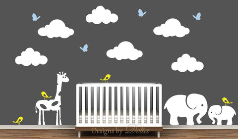 Nursery Wall Mural with Jungle Animals and Clouds